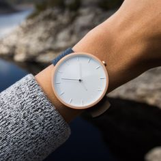 Minimalist Rose Gold Watch For Women & Men. The Aki comes with a white face, white indexing and a rose gold casing, and a navy blue grain-textured Italian leather strap. Marble Watch, Style Outfits, Watches For Men, Ladies Watches, Fashion Watches, Italian Leather, Gold Watch, Mens Fashion, Jewels