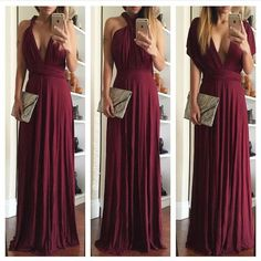 RESERVED BUNDLE! Multi way burgundy maxi dress New! Dresses Maxi