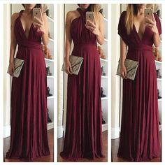 Multi way burgundy maxi dress New! Dresses Maxi