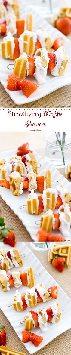 Strawberry Waffle Skewers: These adorable skewers are so easy to make! Made with Belgian waffles, strawberries, and homemade whipped cream, these skewers are perfect for breakfast, brunch, and Valentine's Day! Day 10 of the 14 Days of Love.