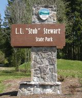 L.L. Stub Stewart State Park - Vernonia, Oregon =  18-hole disc golf course, 20 miles of trails, camping, electric, meeting halls, bird/wildlife watching, nature/visitor center, restrooms, horse camp & trails, wetland, evening programs, interpretive store, bicycle trail
