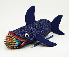 Geometric Shark by MinneBites / Shark Pencil Case - Mens Bag - Geeky Gift for Guys - Office Supplies - Desk Accessory - Shark Week