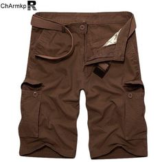 ChArmkpR Mens Large Size Cotton Solid Big Pockets Loose Cargo Military Shorts