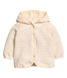 Check this out! BABY EXCLUSIVE/CONSCIOUS. Cardigan in soft, fine, texture-knit organic cotton. Hood, buttons at front, and ribbing at cuffs and hem. - Visit hm.com to see more.