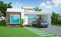 Casa Térrea com 3 quartos sendo 1 suíte com closet e escritório. 2 vagas garagem. Plantas e projetos prontos de casas. Veja outros modelos de casas.