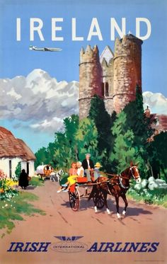 Ireland Irish Airlines Treidler, 1950s - original vintage poster by Adolph Treidler listed on AntikBar.co.uk