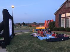 Nothing beats a velcro wall and then movie night birthday party! Inflatable Movie Screen, Things That Bounce, Beats, Fair Grounds, Backyard, Night, Birthday, Wall, Party