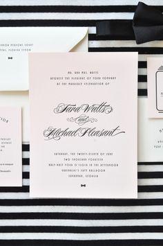 Emily McCarthy Weddings | Tara + Michael Black Letterpressed Broadway Inspired Wedding Invitation #broadway #newyork #letterpress #pink #black #ecru #emilymccarthyweddings | www.emilymccarthy.com