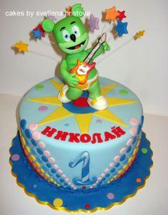 Gummibär the gummy bear birthday party cake idea. Baby First Birthday, 3rd Birthday Parties, Birthday Cake, Gummy Bear Cakes, Gummy Bears, Theme Cakes, Party Cakes, Bear Party, Sleepover Party