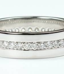 Buy Cara simple all studded crystal band made in sterling silver and swarovski stone ring for women Ring online