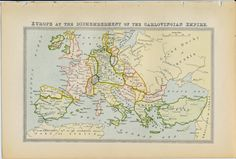 Antique Europe map of Europe at the Dismemberment of the Carlovingian Empire on Etsy, £8.00
