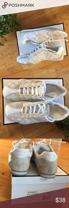 "COACH ""Kate"" Shoe White/Grey Tennis Shoe. Stored in original box. Lots of love left as I wore them just a couple times. Some minor dirt marks that I think could be cleaned. Coach Shoes Athletic Shoes"