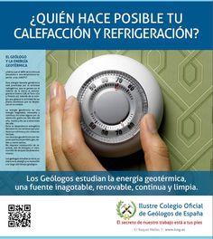 ¿Quién hace posible tu calefacción y refrigeración? Los geólogos estudian la energía geotermica... #ICOG #geology #geologos #geologia