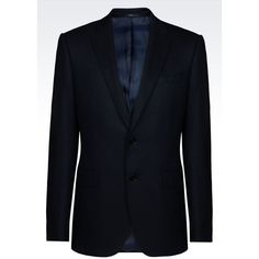 ARMANI COLLEZIONI Two Button Jacket (1,355 NZD) ❤ liked on Polyvore featuring men's fashion, men's clothing, men's outerwear, men's jackets, dark blue and armani collezioni