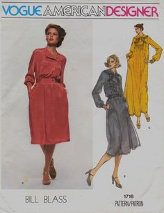 70s Bill Blass Vogue American Designer Pattern 1718 by CloesCloset, $14.00