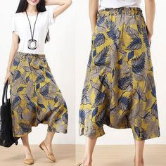 Women linen Retro Leaves Printing Loose Summer Yellow Pants