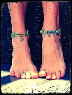 Set of anklets Tribal SUMMER ANKLETS beaded HIPPIE stackable anklets/bracelets barefoot sandals colorful Gypsy anklets Festival. $53.00, via Etsy.