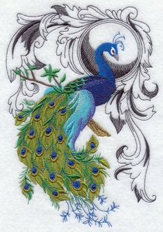Embroidery Quilt block Peacock Flourish quilting block by TwistedBobbin on Zibbet