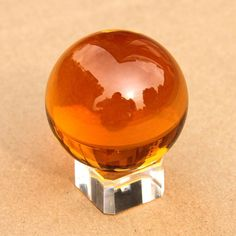Hot Sale Beautiful Balls 40mm Crystal Ball K9 Glass Yellow Asian Quartz Feng Shu...