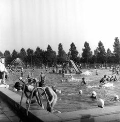 1966. Afbeelding van de nazomerdrukte in het buitenbad van het zwembad Den Hommel (Kennedylaan 5) te Utrecht.