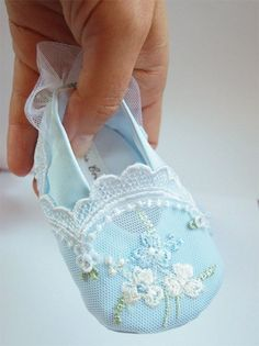 Marie Antoinette personalized shoes for your Baby Girl, pastel blue turquoise, satin, embroidery, lace via Etsy. Oh how I wish they had such beautiful items when my girl was a baby!Blue baby shoes - made from gorgeous vintage hankiesIf my baby wearing all Baby Girl Shoes, Girls Shoes, Baby Girls, Shoe Pattern, Heirloom Sewing, Doll Shoes, Baby Crafts, Baby Booties, Booties Crochet