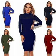 2016 New Sexy/Club Package Hip Pencil Dress O-Neck Long Sleeve Perspective Sheath Patchwork High Quality Cheap Dress Wholesale