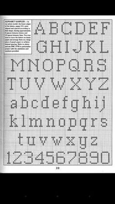 Cross Stitch Letter Patterns, Cross Stitch Letters, Stitch Patterns, Alphabet And Numbers, Needlework, Knitting, Fabric, Crossstitch, Drawing