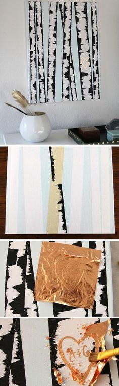 DIY Birch Tree Wall Art | Click Pic for 25 DIY Home Decor Ideas on a Budget | DIY Wall Art Ideas