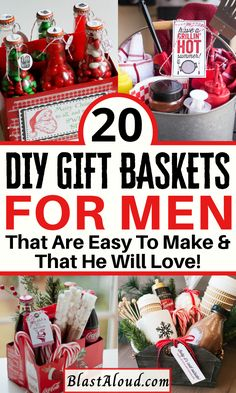 20 Creative and easy DIY gift baskets for men. Spoil the men in your life with these easy DIY gifts that they will absolutely adore! Gift ideas for men, gift ideas for your boyfriend or husband, gifts for him