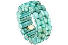 Bracelet cannelé Leane en résine, extensible, lagon Dominique Denaive