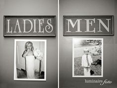 cute idea: place photo of the bride / groom as a kid to symbolize the women's or men's bathroom at your wedding. (photo by luminaire foto) #handmade #reception #wedding