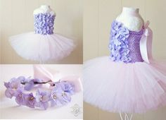 Floral Bodice Tutu Dress in Light Pink and Lavender with FREE Halo Headband | PHOTO PROPS BIRTHDAY BALLERINA