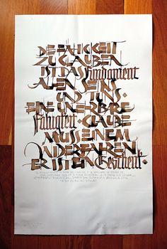 """""""Fähigkeit"""" de Ivan Castro en Storenvy. Bella interpretación de una cita de Rudolf Koch. Realizada con cola-pen y otras plumas metálicas, tinta Sumi y nogalina."""