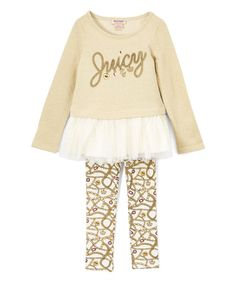 Look at this Juicy Couture Oatmeal Ruffle Tunic & Crown Leggings - Infant, Toddler & Girls on #zulily today!