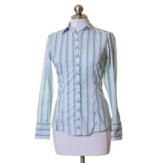 The Limited White & Green Striped Fitted Button Down Shirt Size XS Stretch