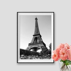 Black and white Eiffel Tower Art Paris Print Instant Download Paris Decor Photograpy Paris  Wall Art Eiffel Tower