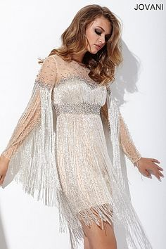 Jeweled Sheer Neck Short Dress 26510