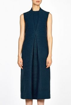 Sleeveless Front Pleat Tailored Dress by Lucas Nascimento