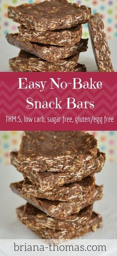No-Bake Snack Bars - all the flavor of a no bake cookie just easier! THM:S low carb sugar free gluten/egg freeEasy No-Bake Snack Bars - all the flavor of a no bake cookie just easier! THM:S low carb sugar free gluten/egg free Low Carb Sweets, Low Carb Desserts, Healthy Sweets, Healthy Baking, Healthy Snacks, No Bake Snacks, Yummy Snacks, Manger Healthy, Desserts Sains