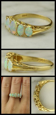 Opal and Diamond Gold Ring with Scrolled Gallery. A lovely and very high-quality ring, this extremely well-made 5-stone opal ring features delicate diamond accents, an intricate scrolled gallery, and carved shoulders. Via 1stdibs.