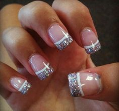 Purple nail tips and also nail designs for 2015 15 winter gel nail art designs ideas trends Glitter Tip Nails, Glitter French Manicure, Silver Nails, French Manicures, Gel French Tip Nails, Glitter Art, Sparkle Nails, Nail Tip Art, Gel Vs Acrylic Nails