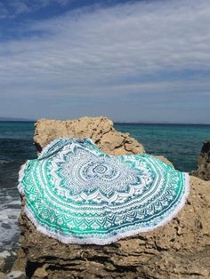 Selling on ETSY Ombre Tapestry, Mandala Roundie, Round Beach Blanket, Ombre Beach Throw, Round Yoga Mat in Turquoise - Hippie home decor Hippie Boho, Boho Girl, Bohemian Beach, Boho Chic, Mandala Blanket, Mandala Tapestry, Mandala Print, Tapestry Wall, Tapestry Beach