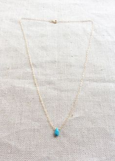 Tiny Turquoise Necklace Dainty Turquoise by SforSparkleShop