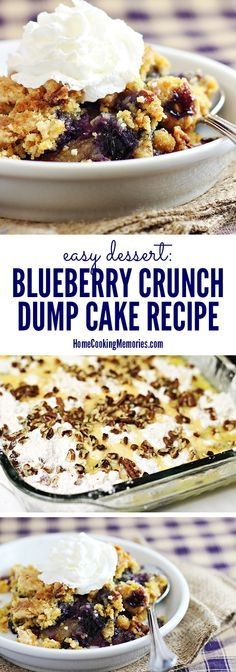 This Easy Blueberry Crunch Dump Cake recipe is so simple to make! You dump all the ingredients together, then bake, and you have a delicious dessert perfect for everything from a family celebrations to holidays. Top with whipped cream or vanilla ice cream Blueberry Crunch, Blueberry Dump Cakes, Blueberry Crisp Recipe With Cake Mix, Blueberry Recipes Easy, Blueberry Cobbler, Smores Dessert, Dessert Simple, Dump Cake Recipes, Baking Recipes