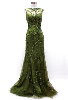 OLIVE GREEN BEADED EVENING PROM DRESS, WITH CAPSLEEVES AND AN OPEN BACK. CAN BE WORN FOR NIKKAH