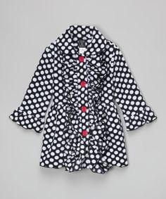 Black Polka Dot Double-Ruffle Coat - Infant, Toddler & Girls