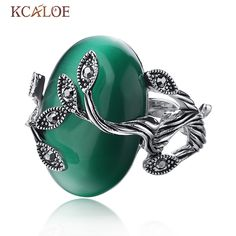 Carved Agate Ring Antique Silver Plate Natural opal Jewelry Vintage Retro Chinese Jade Rings Zircon Big  stone Ring For Women
