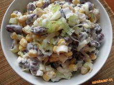 Fazuľu z konzervy prepláchneme a zliatu dáme do misky spolu so zliatou kukuricou...pór nakrájame naj... Potato Salad, Cabbage, Grains, Salads, Rice, Potatoes, Vegetables, Ethnic Recipes, Food