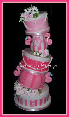 teapot topsy turvey by Cakes By Roselyn