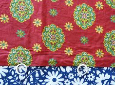 Mid century provencal daisy flower & medallion on red background cotton fabric curtain panel - French 50s 60s vintage pretty provencal floral print on red background quality medium weight cotton (or polycotton?) fabric, little plastic rings at the top, homesewn, unlined, the colours are vibrant - they are best pictured in photo 1 the colours are faded all along both sides of the panel (see photo 4), the panel consists of 3 different pieces of fabric sewn together with black thread (see p...